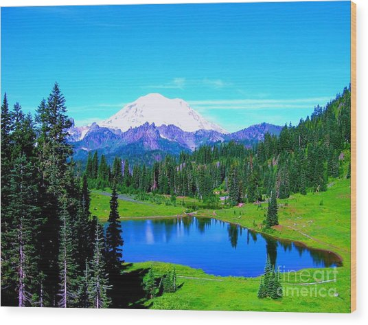 Tipsoo Lake Mount Rainier Wood Print