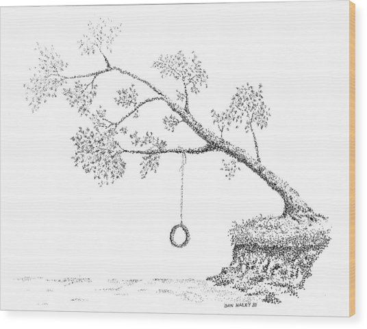 Tire Swing Wood Print by Dan Haley