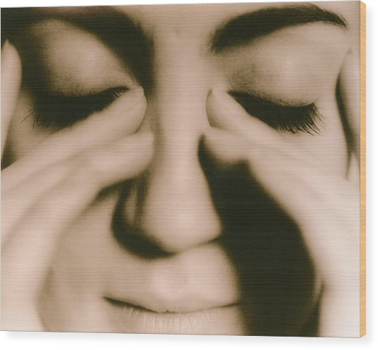 Tired Woman Wood Print by Cristina Pedrazzini/science Photo Library