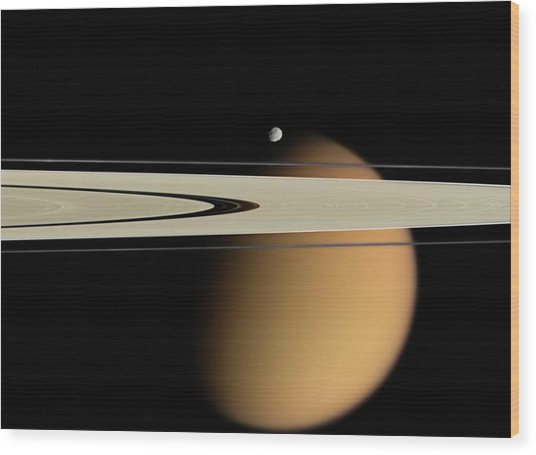Titan And Saturn's Rings Wood Print by Nasa/jpl/space Science Institute