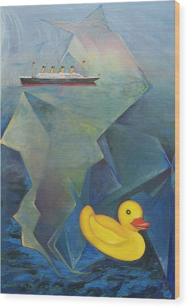 Titanic And The Ducky Wood Print