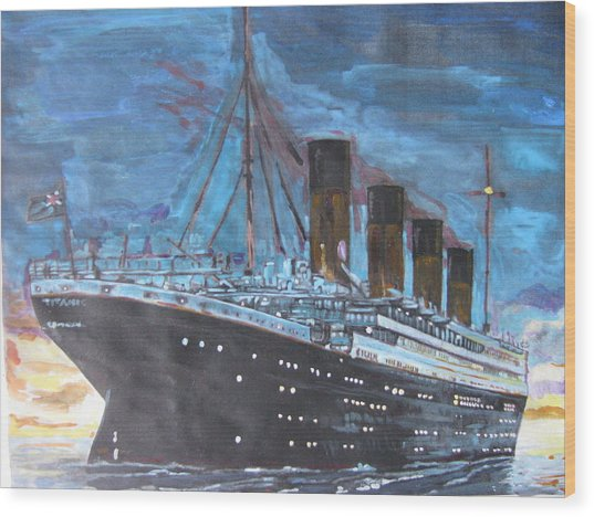 Titanic Into The Sunset Wood Print