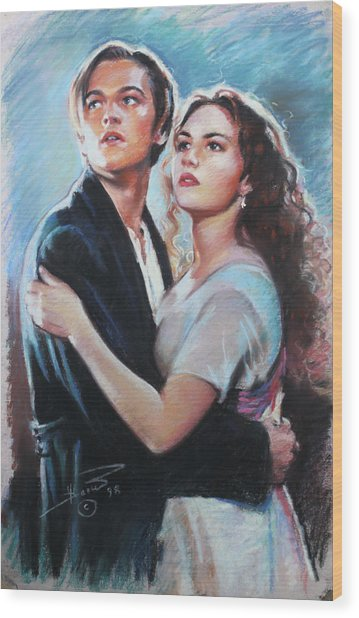 Titanic Jack And Rose Wood Print