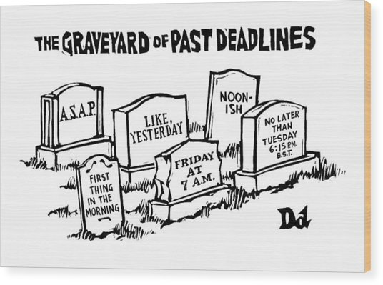 Title: Graveyard Of Past Deadlines.  A Graveyard Wood Print