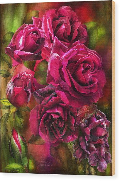 Wood Print featuring the mixed media To Be Loved - Red Rose by Carol Cavalaris