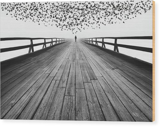 To The End Wood Print by Mandru Cantemir