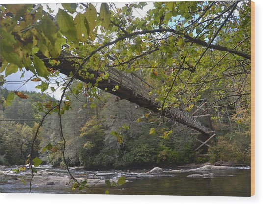 Toccoa River Swinging Bridge Wood Print