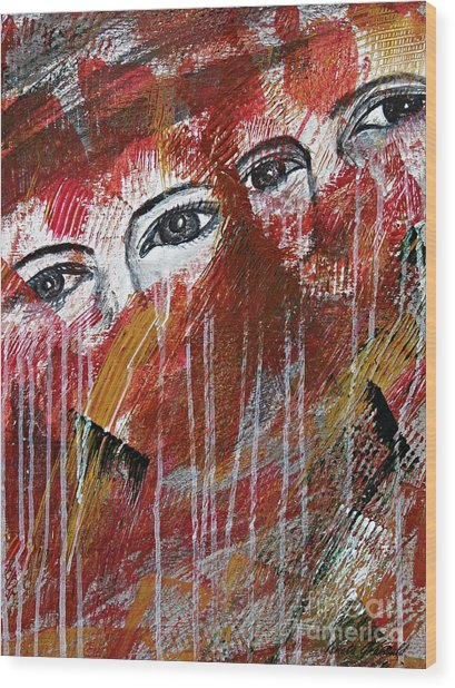 Together- Abstract Art Wood Print
