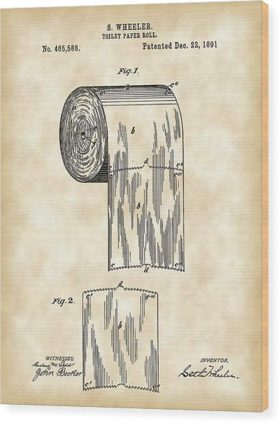 Toilet Paper Roll Patent 1891 - Vintage Wood Print