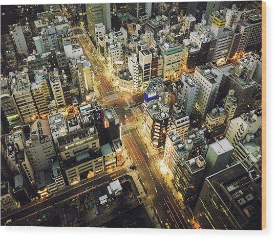 Tokyo Aerial View Street Wood Print by Franckreporter