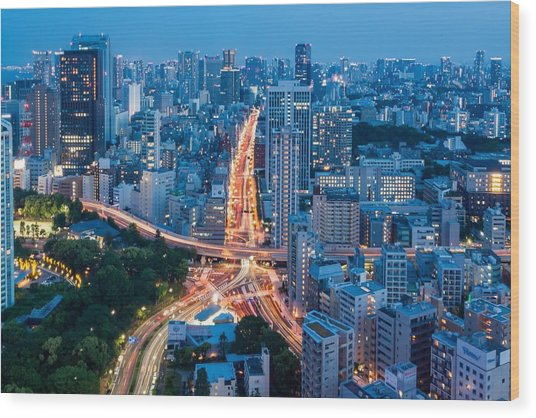 Tokyo City View From Tokyo Tower At Wood Print by Photography By Zhangxun
