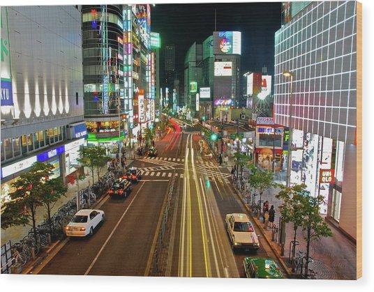 Tokyo Neon Streaks Wood Print