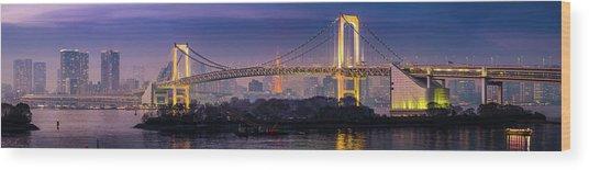 Tokyo Rainbow Bridge Soaring Over Wood Print by Fotovoyager