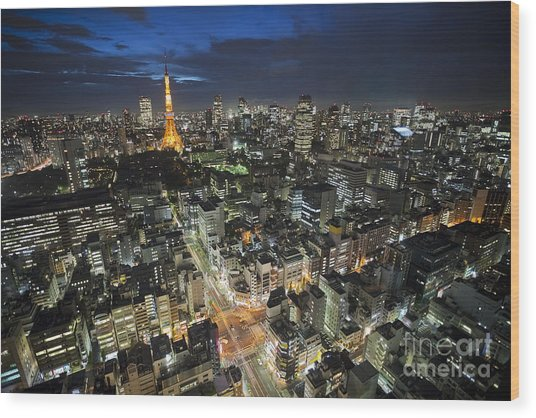Tokyo Tower At Night Wood Print