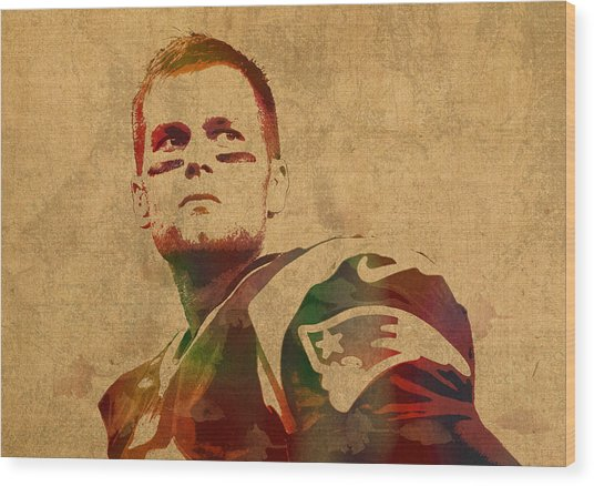 Tom Brady New England Patriots Quarterback Watercolor Portrait On Distressed Worn Canvas Wood Print