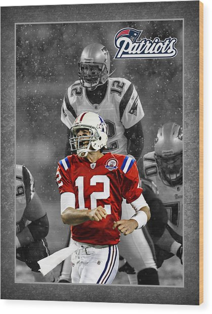 Tom Brady Patriots Wood Print