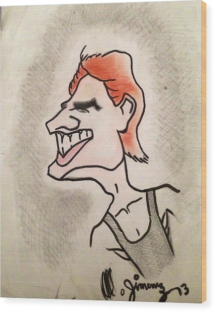 Tom Cruise Caricature Wood Print by Mario  Jimenez