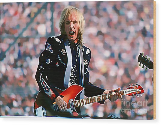Tom Petty At Live Aid In Philadelphia Wood Print