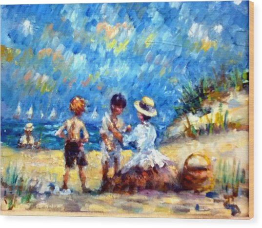 Tom Steve With Gerry At The Beach Wood Print