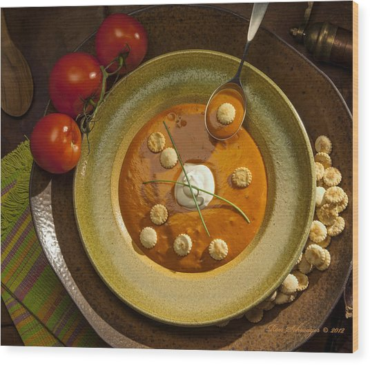 Tomato Bisque Soup Wood Print by Ron Schwager