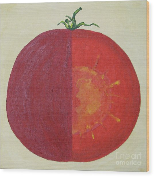 Tomato In Two Reds Acrylic On Canvas Board By Dana Carroll Wood Print by Dana Carroll
