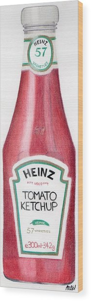 Tomato Ketchup Wood Print by Bav Patel