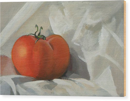 Tomato Wood Print by Peter Orrock