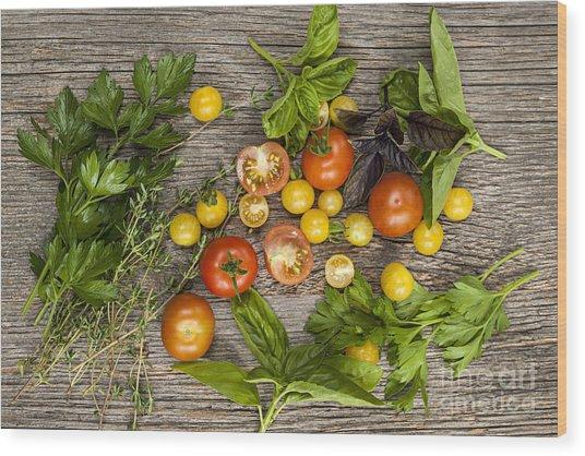 Tomatoes And Herbs Wood Print