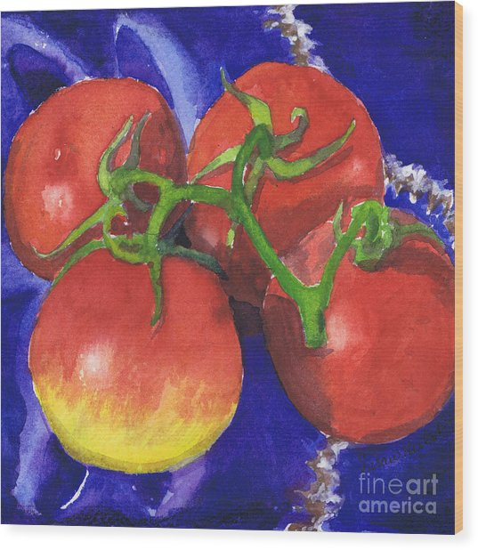 Tomatoes On Blue Tile Wood Print