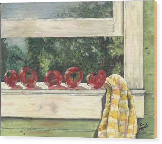Tomatoes On The Sill Wood Print