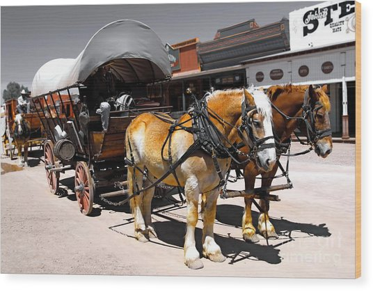 Tombstone Wagon Wood Print