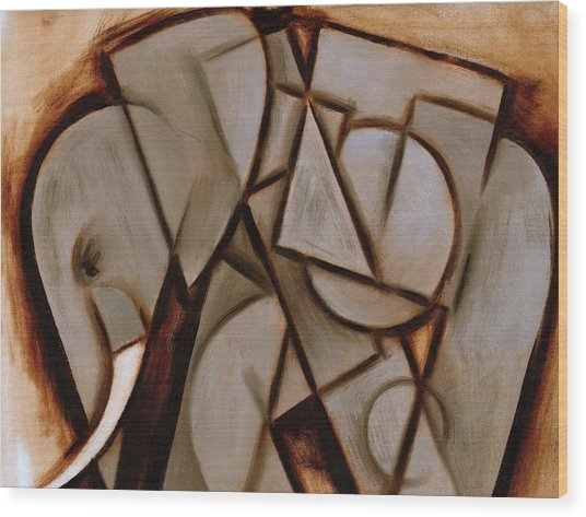 Tommervik Abstract Cubism Elephant Art Print Wood Print