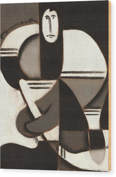 Tommervik Abstract Cubism Hockey Player Art Print Wood Print