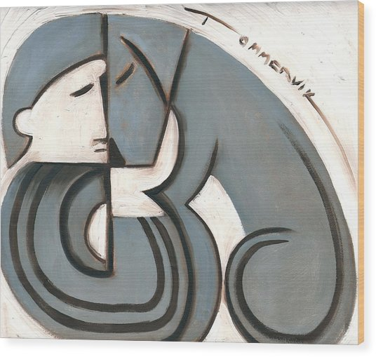 Tommervik Art Deco Man And Dog Art Print Wood Print