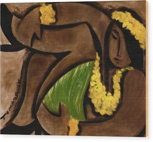 Tommervik Abstract Hula Girl Art Print Wood Print by Tommervik