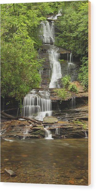Toms Branch Falls Wood Print