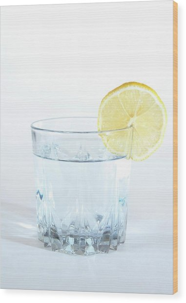 Tonic Water With Lemon In Glass Wood Print