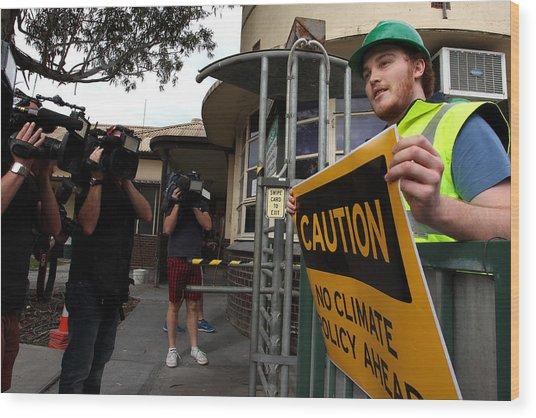 Tony Abbott Visits Adelaide As Marginal Seats Threatened Wood Print by Lisa Maree Williams