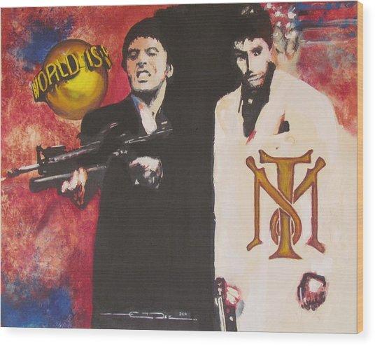 Tony Montana And Friend Wood Print by Eric Dee