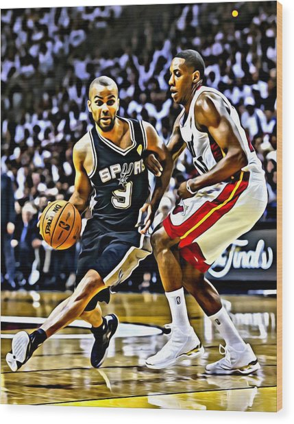 Tony Parker Painting Wood Print