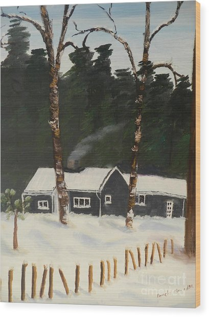 Tonys House In Sweden Wood Print