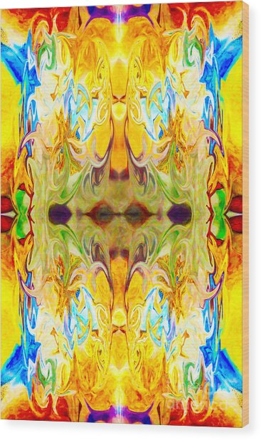 Wood Print featuring the digital art Tony's Tower Abstract Pattern Artwork By Tony Witkowski by Omaste Witkowski