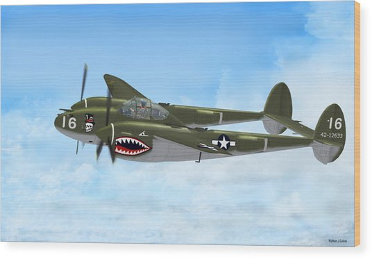Top Hatted Skull P-38 Lightning Wood Print by Walter Colvin
