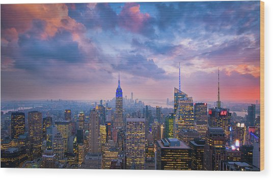 Top Of The Rock Wood Print by Michael Zheng