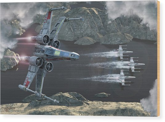Top View Of A Group Of X-wings Flying Wood Print