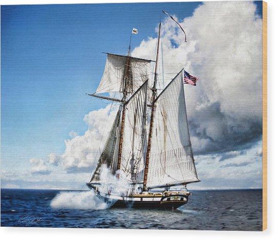 Topsail Schooner Wood Print
