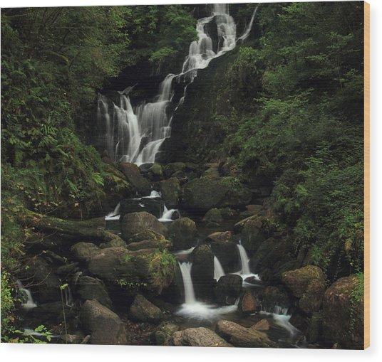 Torc Waterfall Wood Print by Peter Skelton