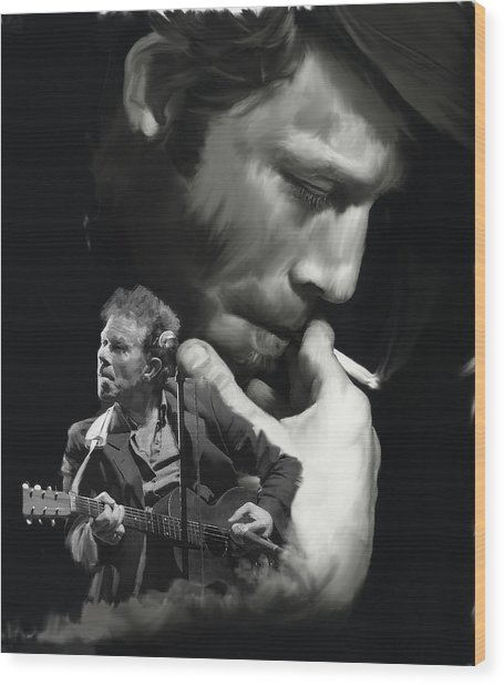 Torn Pages Tom Waits  Wood Print