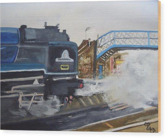 Tornado And Chertsey Station Bridge Wood Print