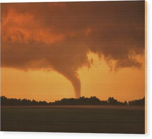 Tornado Sunset 11 X 14 Crop Wood Print